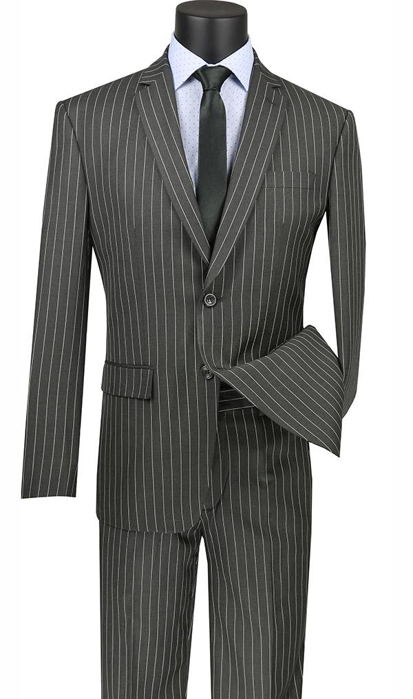 Vinci S2RS-10-Gray - Slim Fit Mens Classic Striped Suit With Notch Lapel