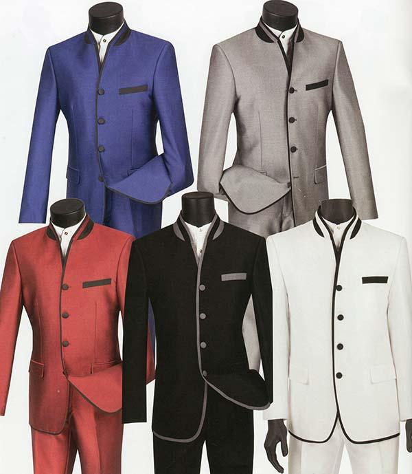 Vinci S4HT-1 Slim Fit Mens Shark Skin Banded Collar Suit