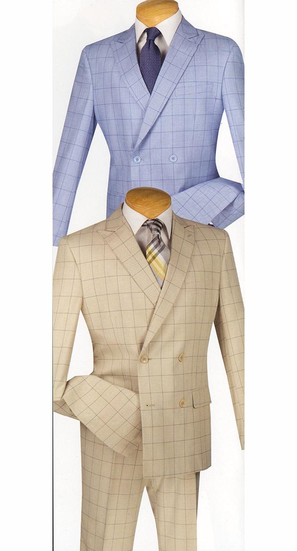 Vinci SD4W-1 Slim Fit Mens Window Pane Design Suit For Church