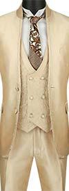 Vinci SV2HT-1-Beige - Sharkskin Slim Fit Mens Banded Collar Suit With Floral Vest & Trim