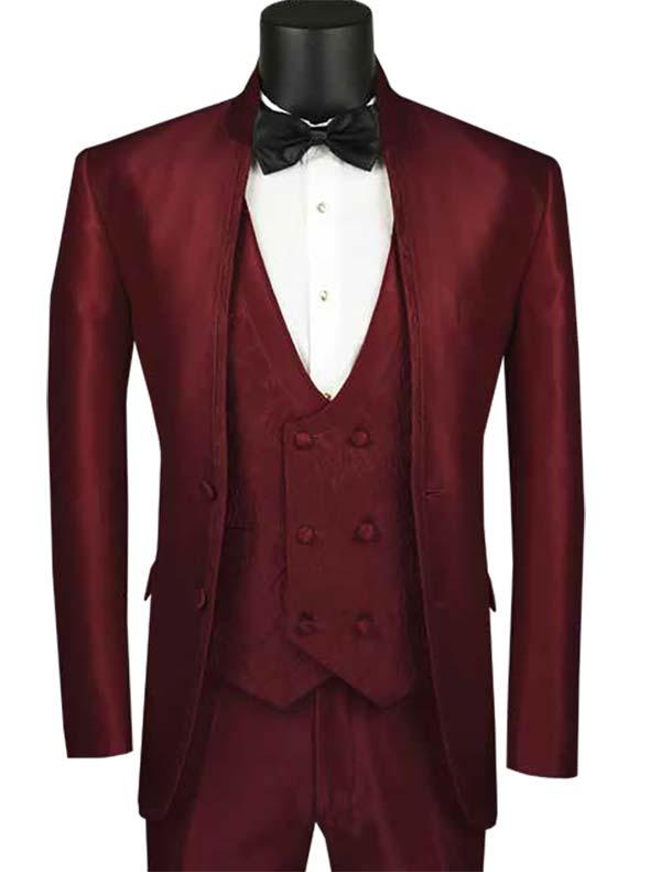 Vinci SV2HT-1-Burgundy - Sharkskin Slim Fit Mens Banded Collar Suit With Floral Vest & Trim