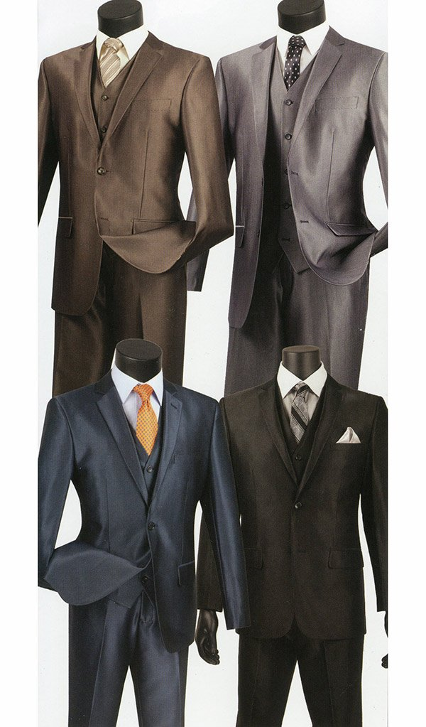 Vinci SV2R-2 Textured Solid Three-Piece Slim Fit Mens Suit