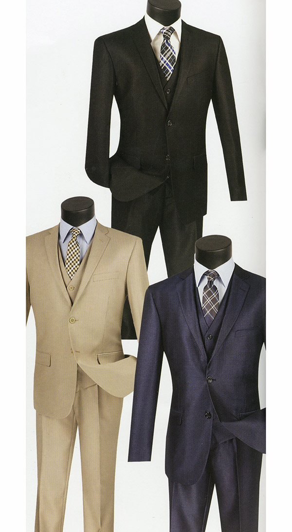Vinci SV2R-3 Three-Piece Textured Solid Slim Fit Mens Suit