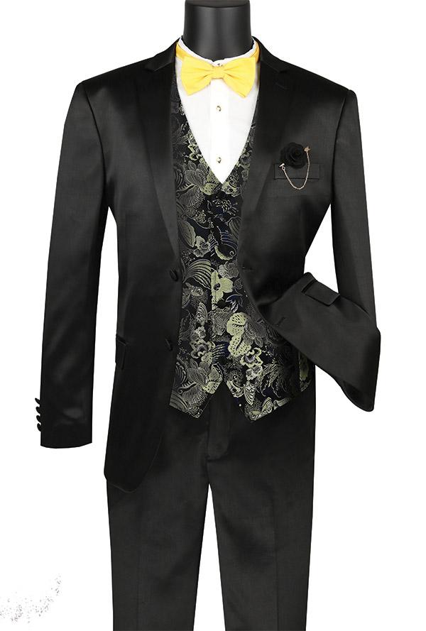 Vinci SVFF-2-Black - Slim Fit Mens Suit With Fancy Vest