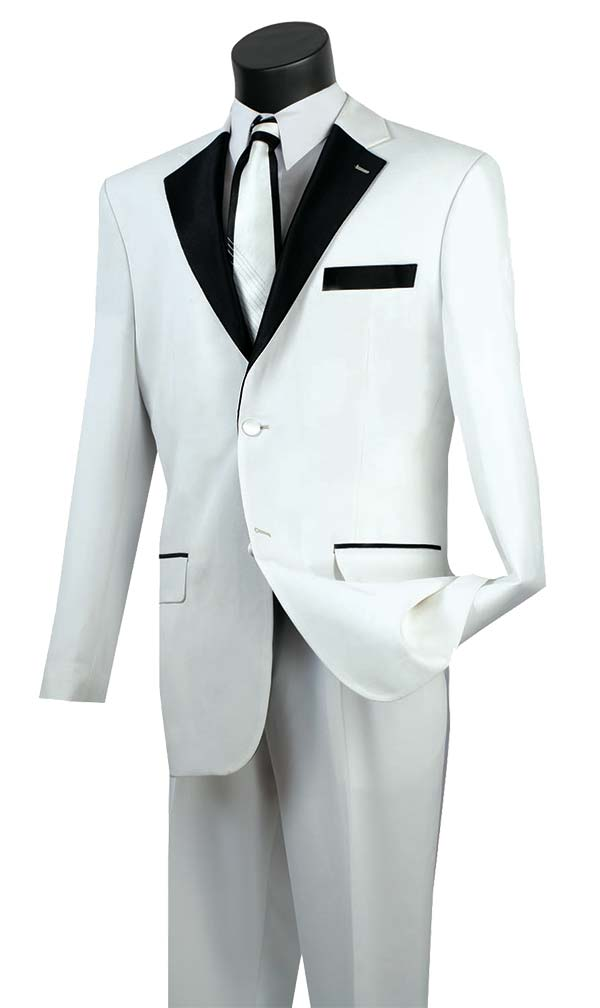 Vinci T-2FF-White Tuxedo With Fancy Lapel & Pleated Pants
