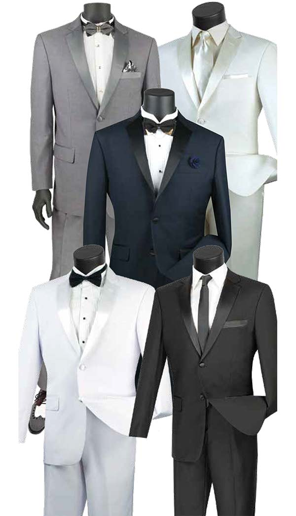 Vinci T-SC900 Mens Slim Fit Tuxedo With Notch Lapel