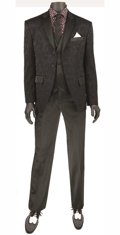 Vinci T-SF-Black - Mens Slim Fit Tuxedo With Peak Lapel & Jacquard Pattern