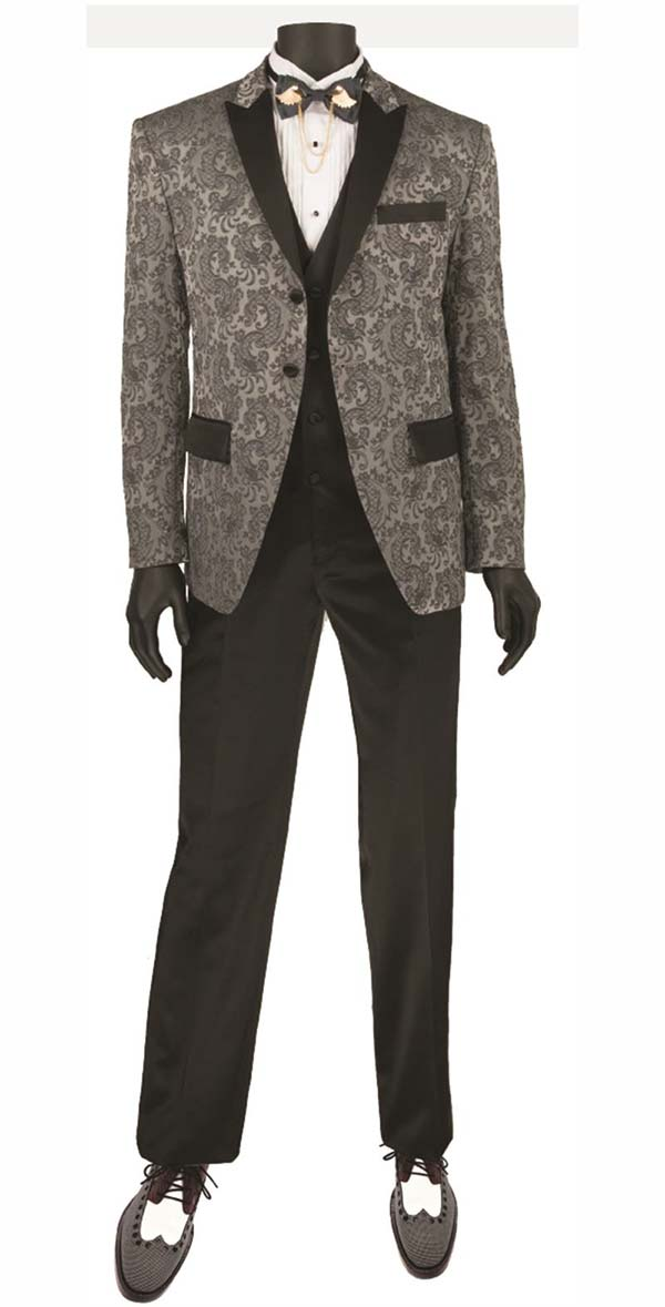 Vinci T-SF-Gray - Mens Slim Fit Tuxedo With Peak Lapel & Jacquard Pattern
