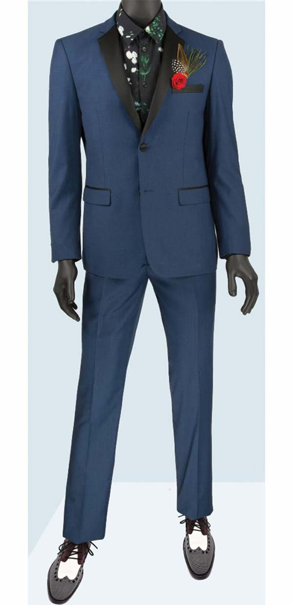 Vinci T-US900-Blue - Slim Fit Mens Single Breasted Tuxedo