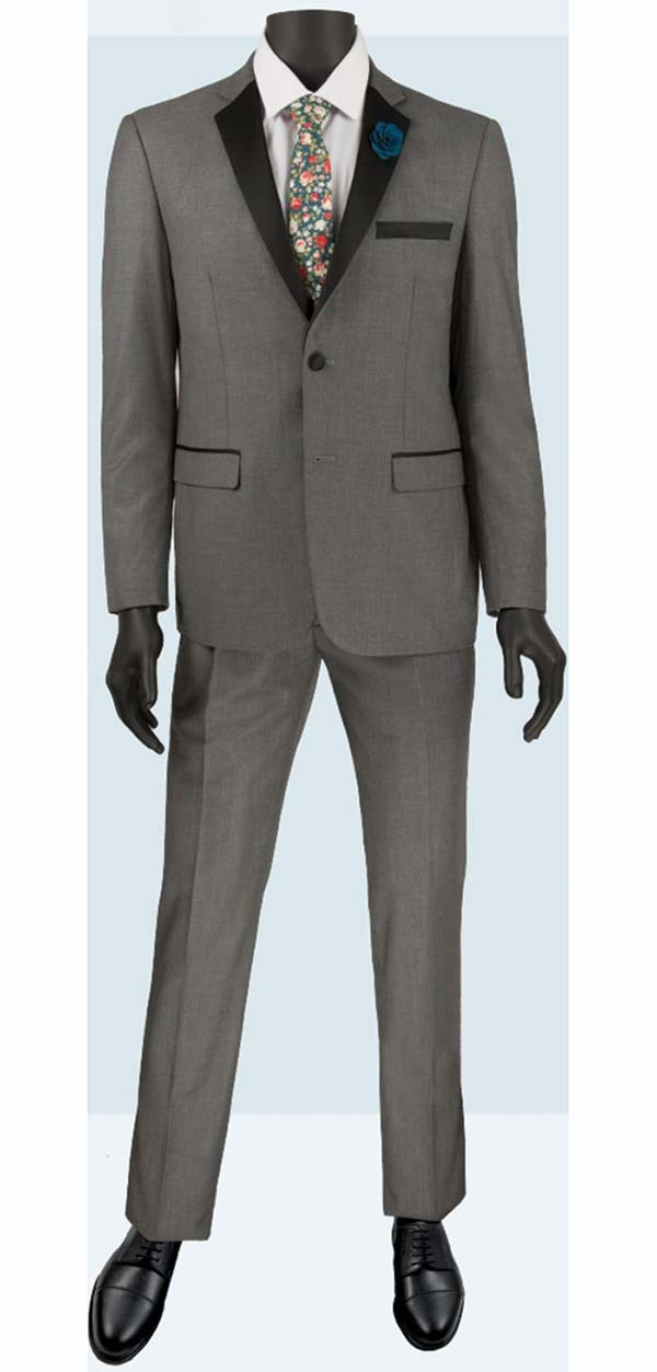 Vinci T-US900-Gray - Slim Fit Mens Single Breasted Tuxedo
