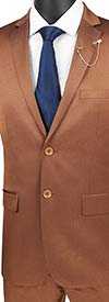 Vinci-US2R-2-Amber - Ultra Slim Mens Suit With Side Vents