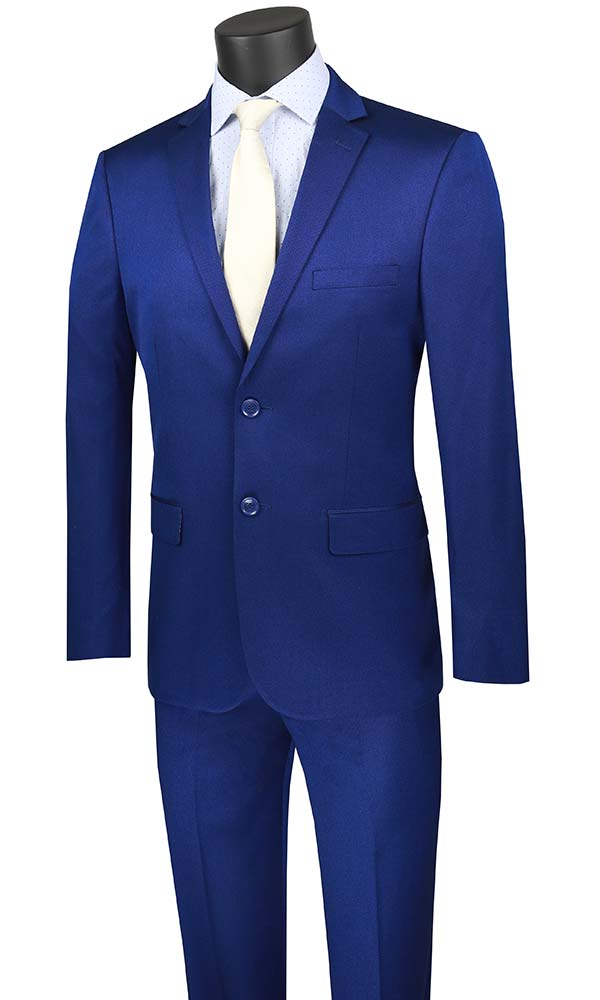 Vinci-US2R-2-Blue - Ultra Slim Mens Suit With Side Vents