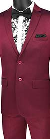 Vinci-US2R-2-Plum - Ultra Slim Mens Suit With Side Vents