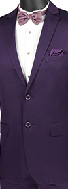 Vinci-US2R-2-Purple - Ultra Slim Mens Suit With Side Vents