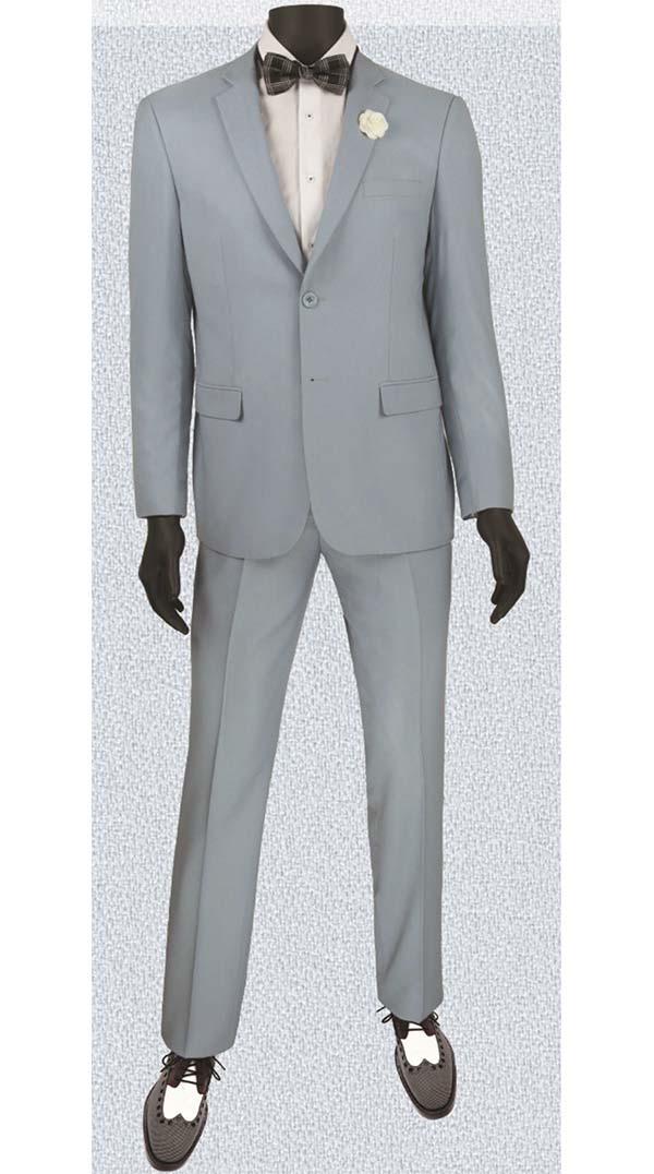 Vinci US900-2-Blue Ultra Slim Mens Suit With Side Vents