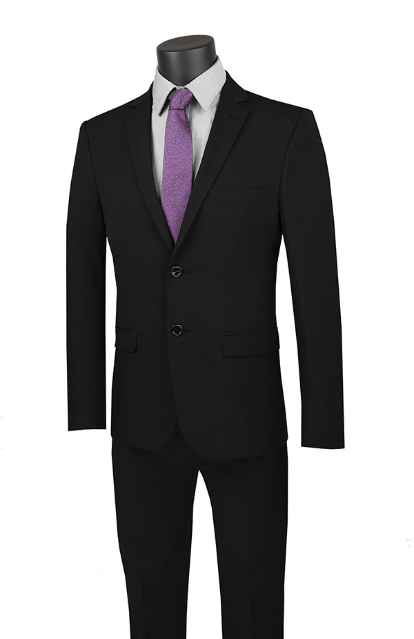 Vinci-USDX-1-Black - Stretch Ultra Slim Mens Suit With Side Vents