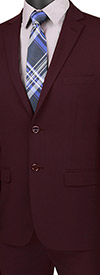 Vinci-USDX-1-Burgundy - Stretch Ultra Slim Mens Suit With Side Vents