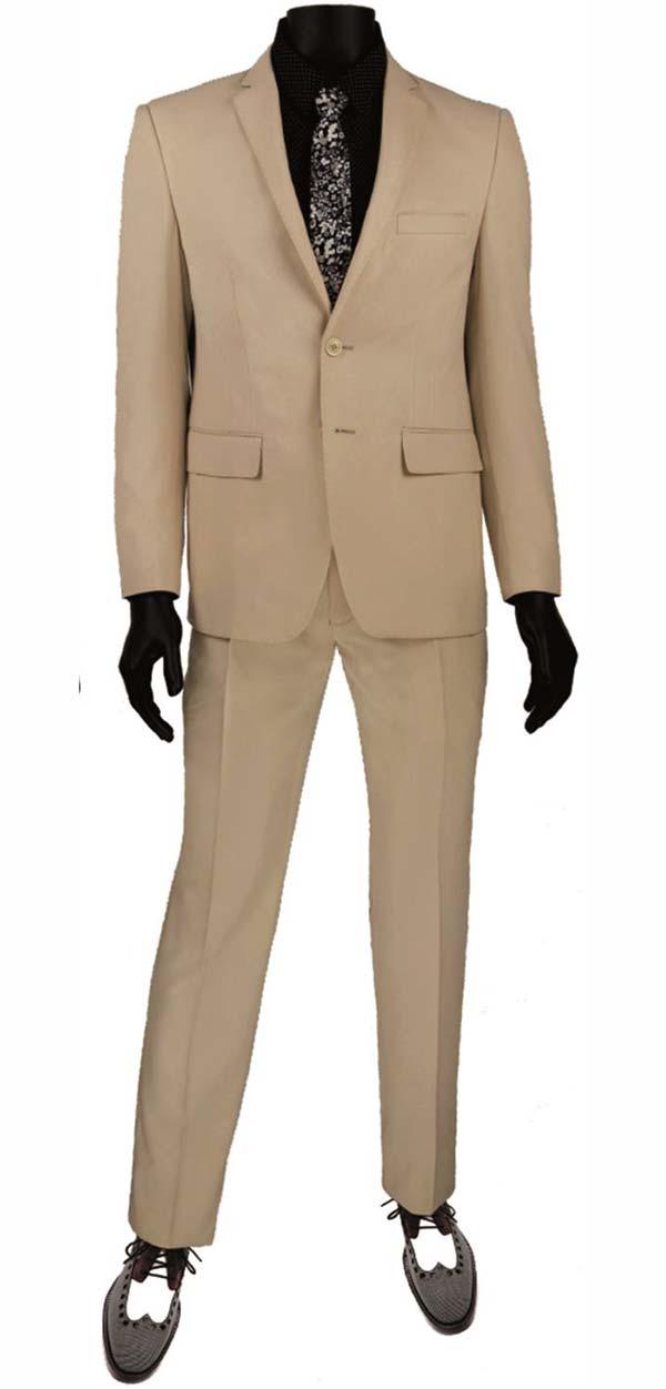 Vinci USRR-1-Champagne Ultra Slim Mens Suit With Trimmed Notch Lapel