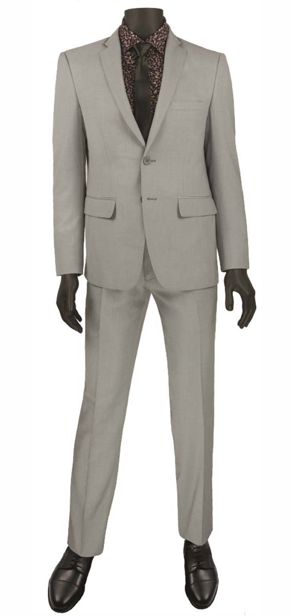 Vinci USRR-1-Gray Ultra Slim Mens Suit With Trimmed Notch Lapel