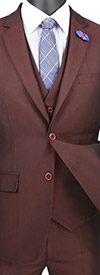 Vinci-USVD-1 - Three Piece Ultra Slim Mens Suit With Side Vents