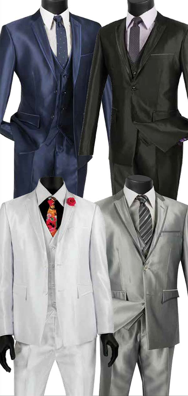 Vinci USVR-4 Three Piece Ultra Slim Mens Shark Skin Suit