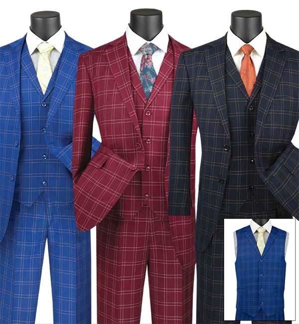 Vinci V2PD-1 Mens Glen Plaid Suit With Notch Collar Vest