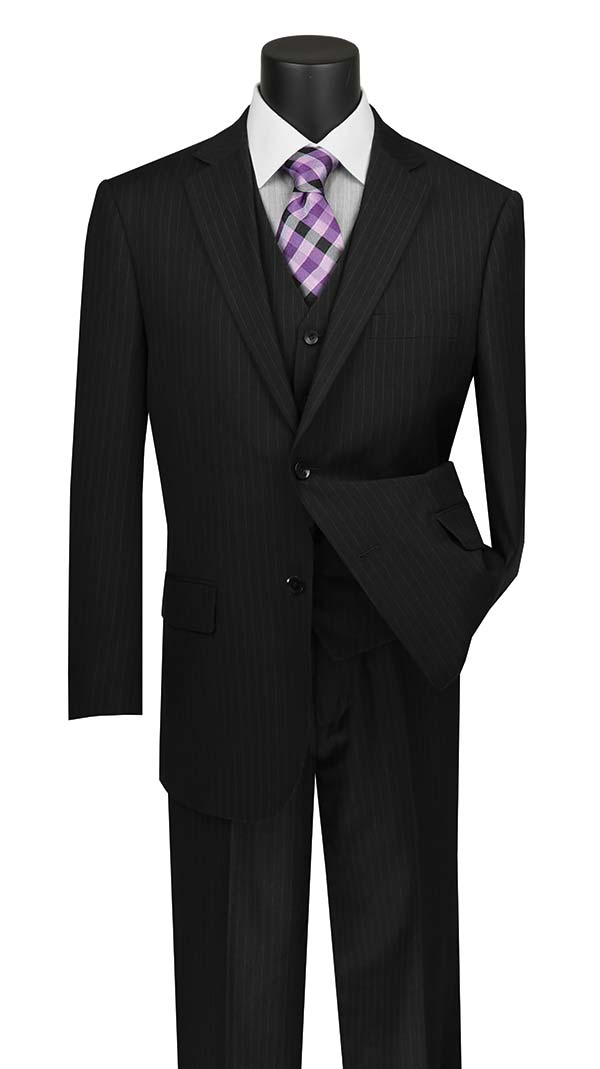 Vinci V2RS-7-Black - Mens Three Piece Pin Striped Suit With Single Pleat Pants