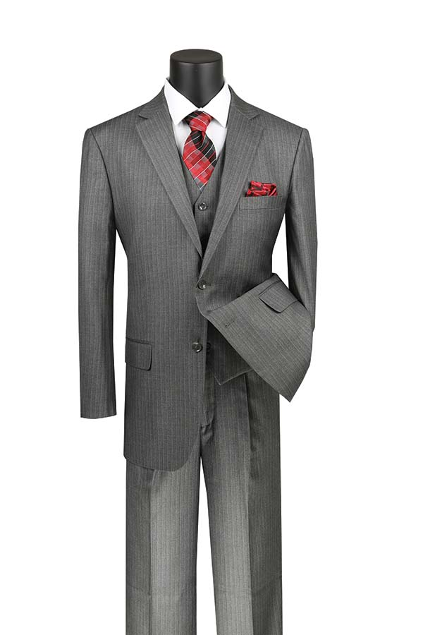 Vinci V2RS-7-Gray - Mens Three Piece Pin Striped Suit With Single Pleat Pants