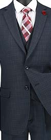 Vinci V2RW-15-Blue - Mens Window Pane Three Piece Suit