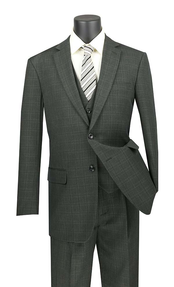 Vinci V2RW-15-Olive - Mens Window Pane Three Piece Suit