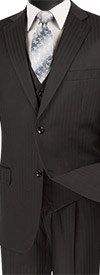 Vinci V2TT-8-Black - Mens Single Breasted Tone On Tone Striped Suit