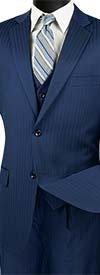 Vinci V2TT-8-Blue - Mens Single Breasted Tone On Tone Striped Suit