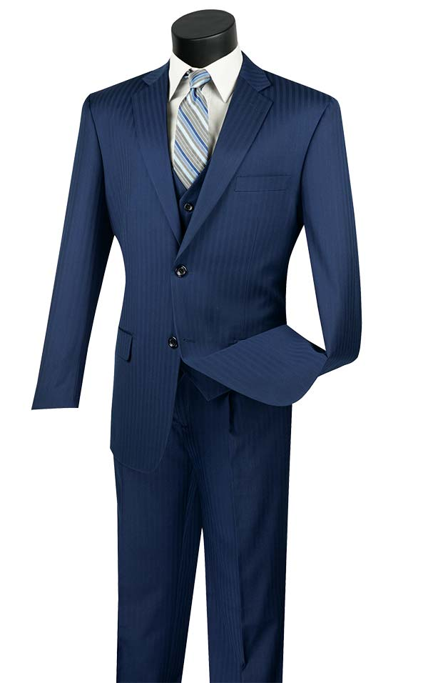 Vinci V2TT-8-Blue - Mens Single Breasted Tone On Tone Striped Suit