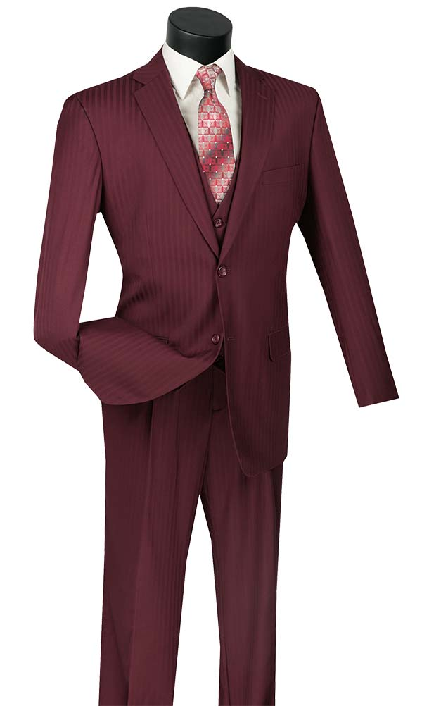 Vinci V2TT-8-Burgundy - Mens Single Breasted Tone On Tone Striped Suit