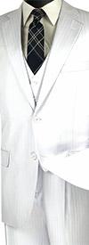 Vinci V2TT-8-White - Mens Single Breasted Tone On Tone Striped Suit