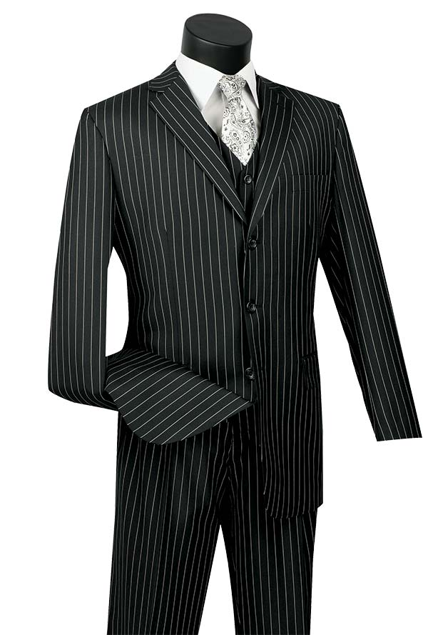 Vinci V3RS-9-Black Single Breasted Striped Suit For Men