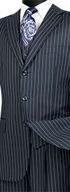 Vinci V3RS-9-Blue Single Breasted Striped Suit For Men