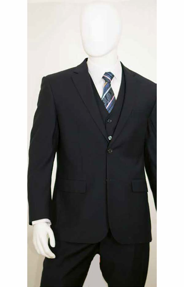 Vittorio St. Angelo C602FV-Black - Three Piece Mens Church Suit