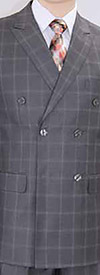 Vittorio St. Angelo C6401D Double Breasted Mens Suit With Window Pane Pattern