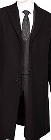 Vittorio St. Angelo COAT91-Black - Mens Wool Blend Overcoat
