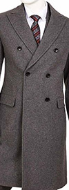 Vittorio St. Angelo COAT92 Mens Double Breasted Wool Blend Overcoat