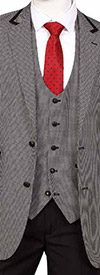 Vittorio St. Angelo F62HV-Black - Three Piece Mens Suit With Houndstooth Pattern
