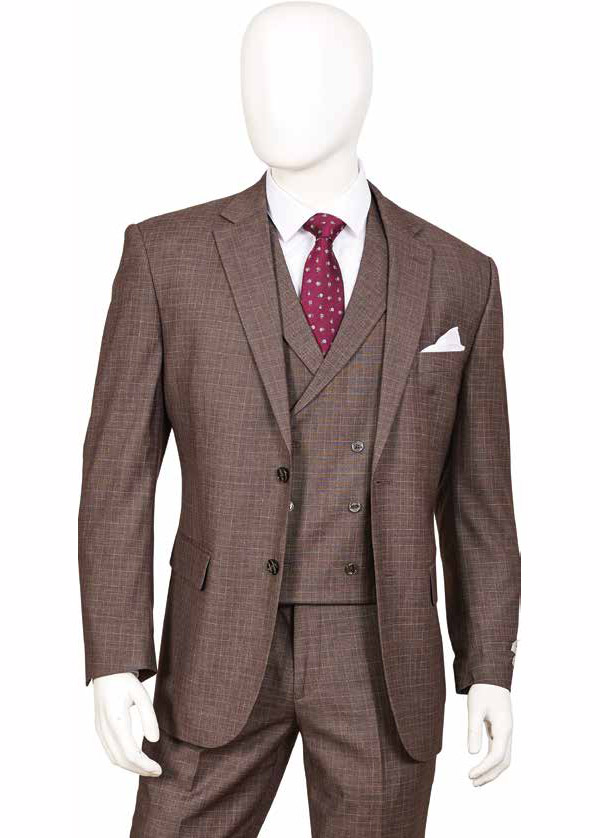 Vittorio St. Angelo F62SQ-Cedar - Three Piece Mens Suit With Double Breasted Vest