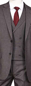 Vittorio St. Angelo F62SQ-Grey - Three Piece Mens Suit With Double Breasted Vest
