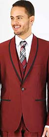 Vittorio St. Angelo FS61V-Burgundy - Mens Three Piece Slim Fit Evening Suit