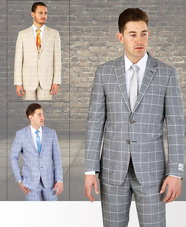 Vittorio St. Angelo M62CB Two Piece Mens Suit With Window Pane Pattern