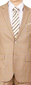 Vittorio St. Angelo M62WP-Beige - Two Piece Mens Suit With Subtle Window Pane Pattern