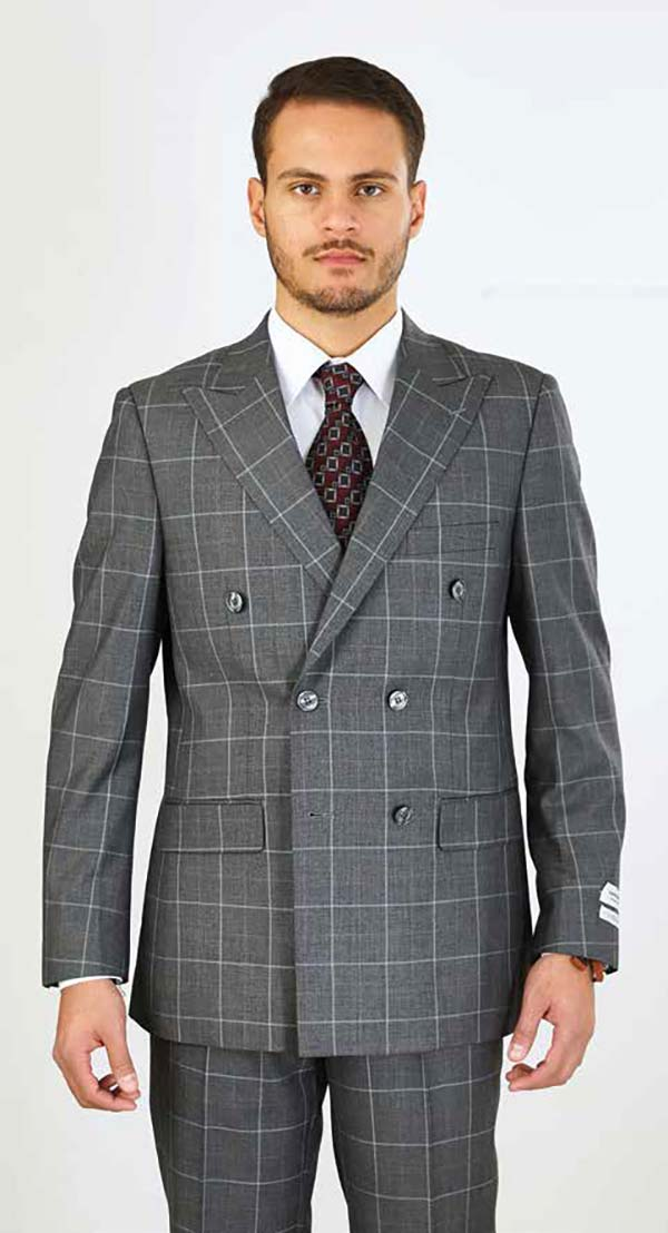 Vittorio St. Angelo M662WD-Grey - Double Breasted Peak Lapel Mens Suit With Window Pane Pattern