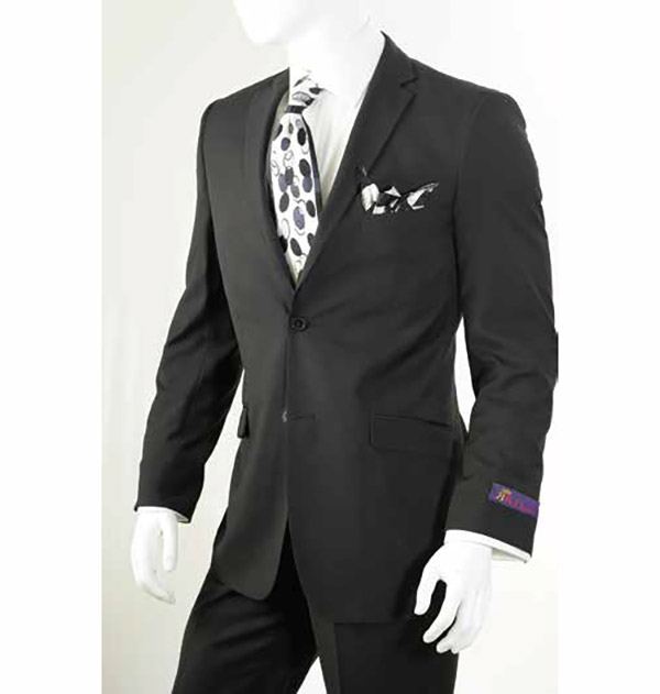 Vittorio St. Angelo S62KR-Black - Two-Piece Mens Slim Fit Suit