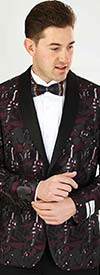 Vittorio St. Angelo SZ626 -  Mens Shawl Lapel Print Slim Fit Blazer